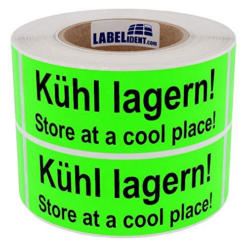 Labelident Versandetikett - Kühl lagern! Store at a cool place! - 150 x 50 mm, 1000 Aufkleber auf Rolle, Papier leuchtgrün, selbstklebend - Lager Cool