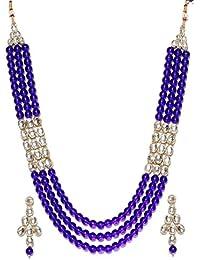 Shining Diva Fashion Blue Kundan Rani Haar Wedding Party Wear Stylish Necklace Set For Women Traditional Jewellery...