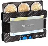 SLIMPURO Kreditkartenetui mit Münzfach ATTO - Carbon Slim-Wallet mit Aluminium CoinCard – TÜV RFID / NFC Schutz - Premium Kartenetui mit Geldklammer - Mini Geldbörse Geldbeutel (Silber Metal)