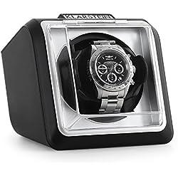 Klarstein 8PT1SR eleganter Uhrenbeweger Watchwinder (linkslauf/rechtlauf, Sichtfenster, Kunstleder, flüsterleise) schwarz