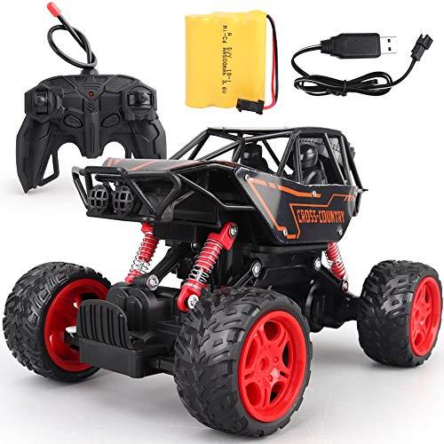 MEILA RC Rock Crawler Fernbedienung LKW 4WD wiederaufladbare Fahrzeuge Geländewagen mit starker Kletterfähigkeit Ferngesteuertes Auto (Color : Orange, Größe : L)