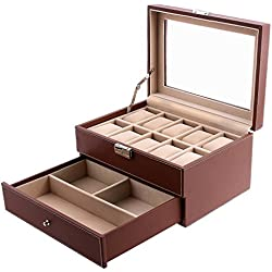 Songmics Watch Storage Box Jewellery Organiser Case JWB007