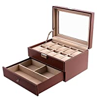 Songmics Glass Lid Lockable Jewellery and Watch Storage Box for 10 Watches JWB007
