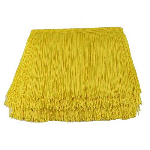 Kolight 10 Meter Breite 20,3 cm Polyester Spitze Quaste Fransen Dekoration für Lateinkleid Bühne Kleidung Lampenschirm gelb -