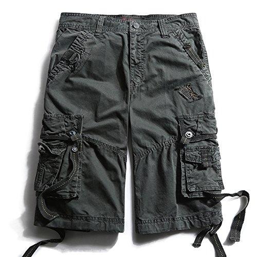 WDDGPZDK Strand Shorts/Männliche Cargo Shorts Sommer Militärischen Multi-Pocket Cargo Shorts Männliche Casual Knie Länge Größe 787, Dunkelgrau, 32 (Lange Mesh Pocket Shorts)