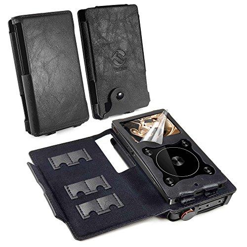 Tuff-luv Combo Echt Leder Ledertasche Hülle Tasche Für [FiiO X3 III 3rd Gen & A5/E12 Amp] - MP3 (mit Bildschirmschutz) - Schwarz