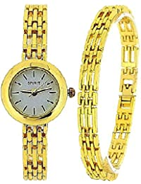 Spirit Ladies Analogue Gold Tone Watch & Bracelet Gift Set ASPL52