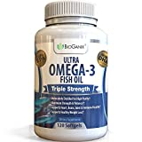 #1 Best Ultra Omega-3 Fish Oil 2000mg Supplement /w 800 EPA + 600 DHA + Vitamin E (120 Softgels) Triple Strength Pharmaceutical Grade Natural Fatty Acids From Deep Blue Ocean Fish In Liquid Capsules by BioGanix
