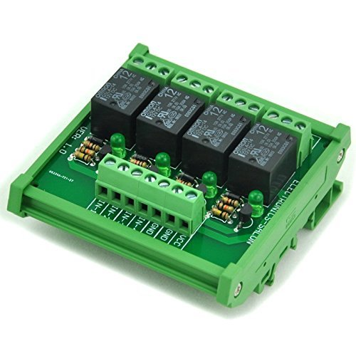 Electronics-Salon DIN Rail Mount 4 SPDT Power Relay Interface Modul, Omron 10 A Relais, 12 V Coil. -