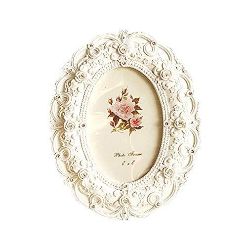 LifeX 7 Zoll europäischen Stil Harz Fotorahmen kreative weiße Rose handgefertigte Bilderrahmen Hochzeit Home Decor Geschenke Handwerk, ovale Form, antike Schreibtisch Dekor (Größe : 7 inch) - Aluminium-rahmen Harz