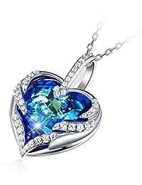 """CRYSLOVE """"Coeur d'Océan Collier Femme Pendentif Cristal Colliers Femme, Cristal Bleu Coeur Collier Maman,Cadeau fête des mères"""