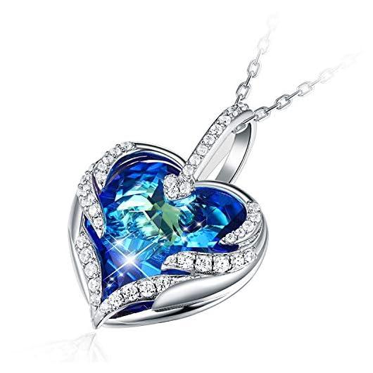 Collier coeur Cristal bleu