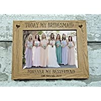 "Personalised Photo Frame - Personalised Wedding Gift - Personalised Bridesmaid Wooden Photo Frame 7"" x 5"" - L1221"