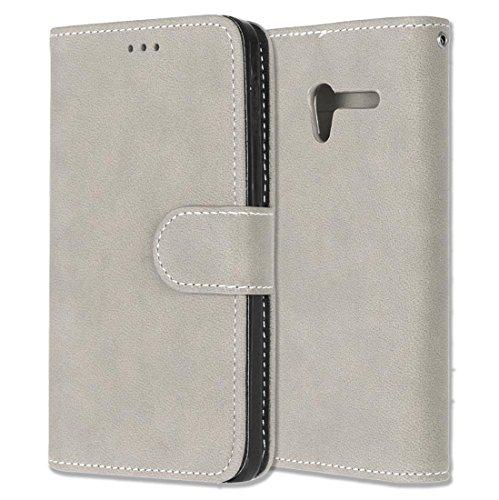 Chreey Alcatel One Touch Pop 3 (5.0) Hülle, Matt Leder Tasche Retro Handyhülle Magnet Flip Case mit Kartenfach Geldbörse Schutzhülle Etui [Beige]