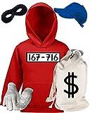 Deluxe Kostüm für Panzerknacker Fans Fasching Karneval Kinder Hoodie+Geld Sack+Cap+Handschuhe+Maske, Größe: 152,Rot