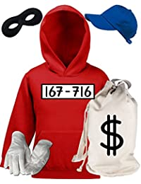 Deluxe Kostüm für Panzerknacker Fans Fasching Karneval Kinder Hoodie+Geldsack+Cap+Handschuhe+Maske
