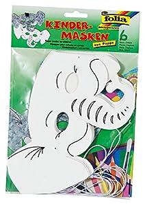 Folia 23204-Máscaras de niños Elefante, 6Unidades, Color Blanco