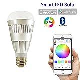 Flux Bluetooth Smart LED Leuchtmittel–Smartphone gesteuert Farbwechselnde dimmbar Glühbirne für Apple iPhone, iPad, Apple Uhr, Android Handys und Tablets, grau, E27, 10.00 wattsW 230.00 voltsV