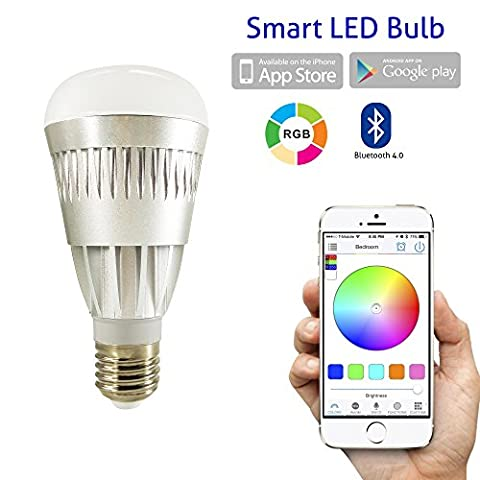 Flux Bluetooth Smart Ampoule LED – contrôlée Smartphone compatible variateur d'intensité Ampoule Couleur Changeante pour Apple iPhone, iPad, Apple Montre, téléphones Android et tablettes, gris, E27, 10.00 wattsW 230.00 voltsV