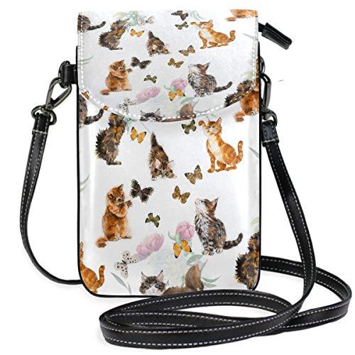 ZZKKO Handtasche mit Wasserfarbe, Tiere, Katze, Schmetterling, Mini-Umhängetasche, Handtasche, Leder, für Damen, für Alltag, Reisen, Wandern, Camping -