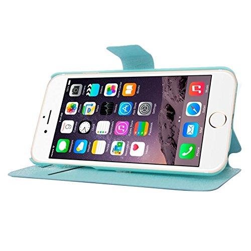 wkae Schutzhülle Case & Cover Seide Textur Horizontal Flip Leder Tasche mit Kartenfach & HolderFor iPhone 6Plus & 6splus Blue