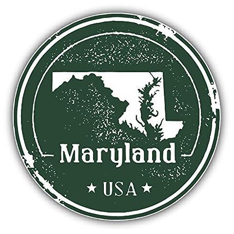 Maryland USA State Grunge Map Stamp Car Decor Vinyl Sticker