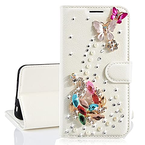 Xifanzi Wallet PU Leather Case for Samsung Galaxy A7 2017 Solid Color Flip Case Strass Bling Bling Diamond Design Flowers Floral Pink Lips Pattern Folio Stand Wallet Cover with Card Slots Cute Magnetic Buckle Protective Cell Phone Cases for Samsung Galaxy A7 2017 ---Colorful Crystal