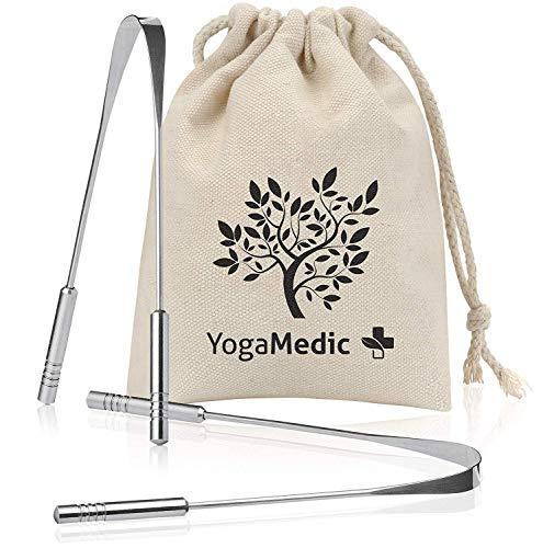 YogaMedic® Zungenreiniger [2x] 100% Edelstahl gegen Mundgeruch - natürlich antimikrobiell - Ayurveda Zungenschaber Zungebürste inklusive Baumwollbeutel