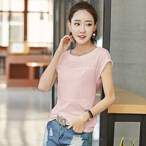 Sommer Neue bestickte T-Shirt literarischen Fan Frauen Frauen koreanische T-Shirt Leder Pink XXXL -