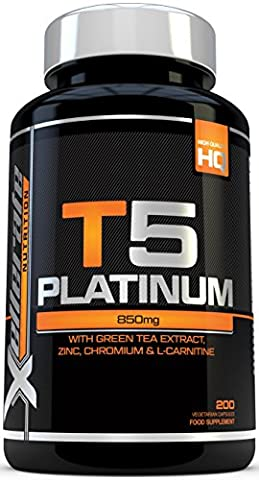 T5 Fat Burners - 200 Capsules - UK Manufactured Thermogenic Fat Burner - Suitable for Vegetarians & Vegans - Ingredients Include Green Tea Extract, Green Coffee Bean Extract, L-Carnitine and More - by Xellerate