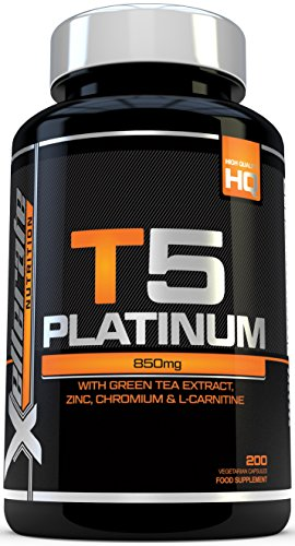 T5 Fat Burners - 200 Capsules - UK Manufactured Thermogenic Fat Burner - Suitable for Vegetarians & Vegans - Ingredients Include Green Tea Extract, Green Coffee Bean Extract, L-Carnitine and More