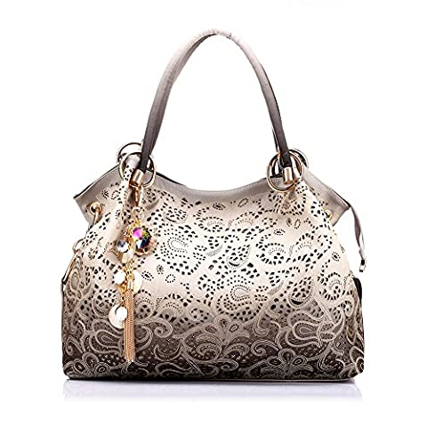Realer Ladies Leather Hobo Handbags Tote Bags Purses with Zipper for Women Grey