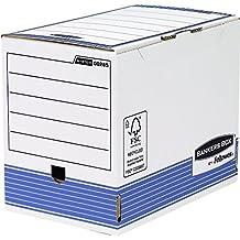Fellowes Bankers Box - Caja de archivo definitivo automático, A4, 200 mm, 10 unidades, color blanco y azul