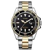Robuste Herren Gold und Silber Schwarzes Zifferblatt Luxry Quarz Armbanduhr Analoganzeige mit Datum