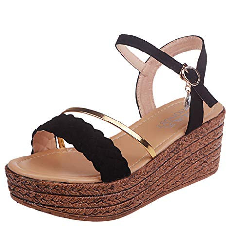 Sandals for Women FGHYH Fashion Casual Crystal Wedge Open Toe Platforms Sandals High Heels Shoes(38, Schwarz) (Womens Schwarz Training Turnschuhe)