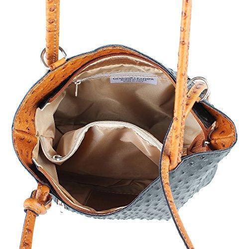 Borsa a Spalla da Donna Stampa Struzzo in Vera Pelle Made in Italy Chicca Borse 28x30x9 Cm Nero - Cuoio