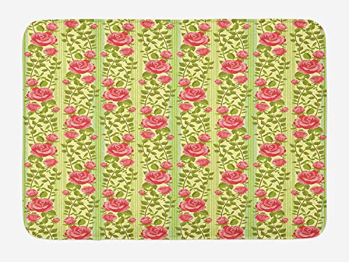 PdGAmats Floral Bath Mat, Classical Pink Roses with Green Leaves on Vertical Borders Old Fashioned Design 23.6 W X 15.7 W Inches Pink Double Old Fashioned