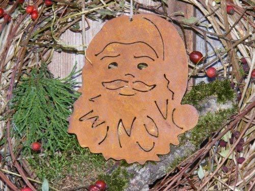 Rostikal | Rostiger Weihnachtsmann | Edelrost Deko Nikolaus zum Hängen | 15 x 15 cm