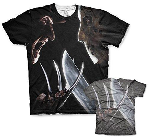 odukt Freddy Vs Jason Allover T-Shirt (Mehrfarbig), XX-Large (Lustig, Beängstigend Masken)