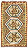 CarpetFine: Kelim Afghan Teppich 58x98 Orange - Geometrisch