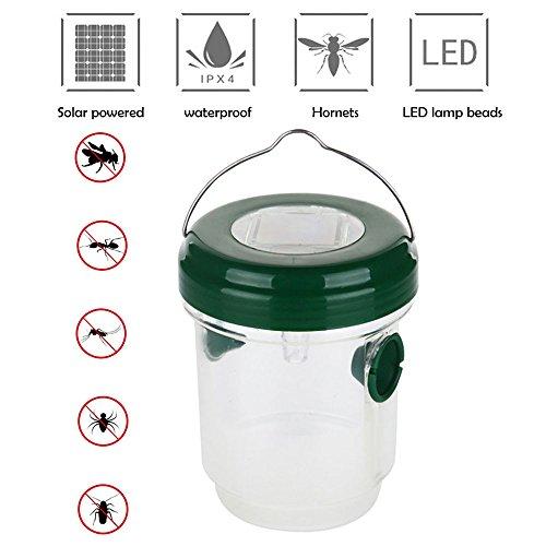 Umiwe Falle für Wespe, Mückenfalle Solarbetriebener Fänger für Fliegen mit LED-Licht, Wespenabwehr für Biene, Hornisse und Insekten, Ideal für Garten und Terrasse