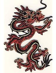 MQ Écusson dragon -rouge / or- à appliquer au fer à repasser