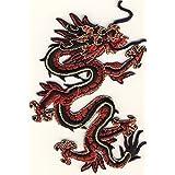 Dragón Dragon–Rojo/Oro–Parche para planchar bordados Patch