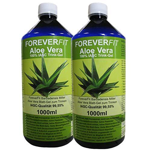 ForeverFit Aloe Vera Trinkgel, 2 x 1000ml #30241 | 100% Barbadensis Miller Blattgel UNVERDÜNNT | KEIN SAFT. KEIN Konzentrat | OHNE künstliche Vitamine | Acemannan bis 1200mg/Liter.