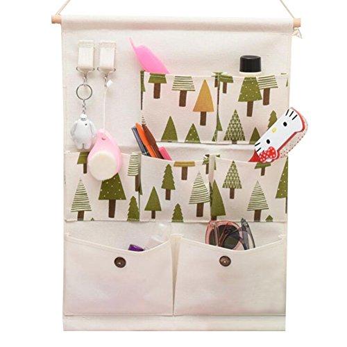 Leinen Baumwolle Hängen Taschen Tasche - Meedot Kleiderschrank Tür Wand Hang Lagerung Korb Eimer Organizer Space Saver Geschenk 7 Taschen mit 2 Aufhänger Haken Taschen,Trees