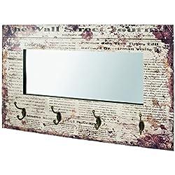 -Perchero de pared con espejo Journal en Vintage Diseño