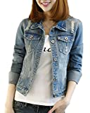 Classic Pink Damen Jeansjacke Übergangsjacke Leichte Jacke Denim Casual Boyfriend Sakko Mit Knöpfen Jacken Einfarbig Blau L