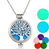 Tree of Life Aromatherapie Halskette,Maruxiong Damen Essential Oil Diffuser Necklace+7 Pads (Silber)