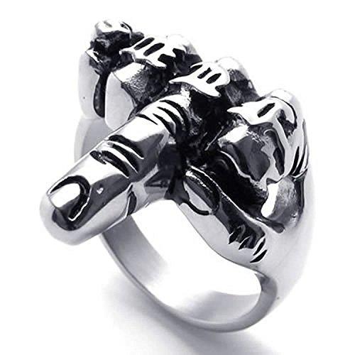 Anillo retro de dedo medio de hombres - TOOGOO(R) Anillo de joyeria de hombre motorista, de acero inoxidable, de dedo medio de estilo retro, negro + plata(12)