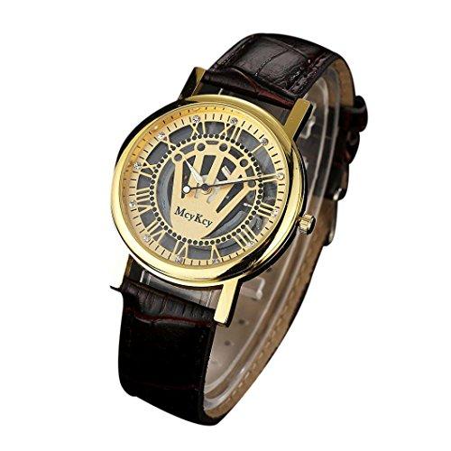 Preisvergleich Produktbild Sansee Herren Leder Einfache wasserdichte Quarz Analog Armee Datum Armbanduhren-Mcykcy Herrenuhr MY023 (A)